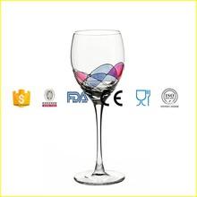 Romanian Crystal Barware - Cobalt Blue Swirl/Stained Glass Pattern - Milano Design - 12 Oz Red Wine Glassware