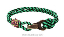 Knot double cotton rope wrap oblate fish hook bracelet for men's