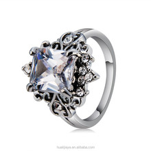 R037 Platinum plated Transparent Cubic Zirconia wholesale fashion jewelr ring for women