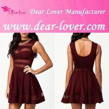 Online Dull-red Mesh Panel Short Summer Skater Dresses Shop