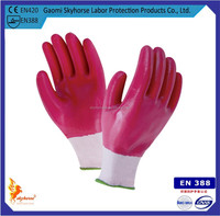 Grey nylon liner and spandex nitrile coated construction glove manufacturer cheap nitrile gloves