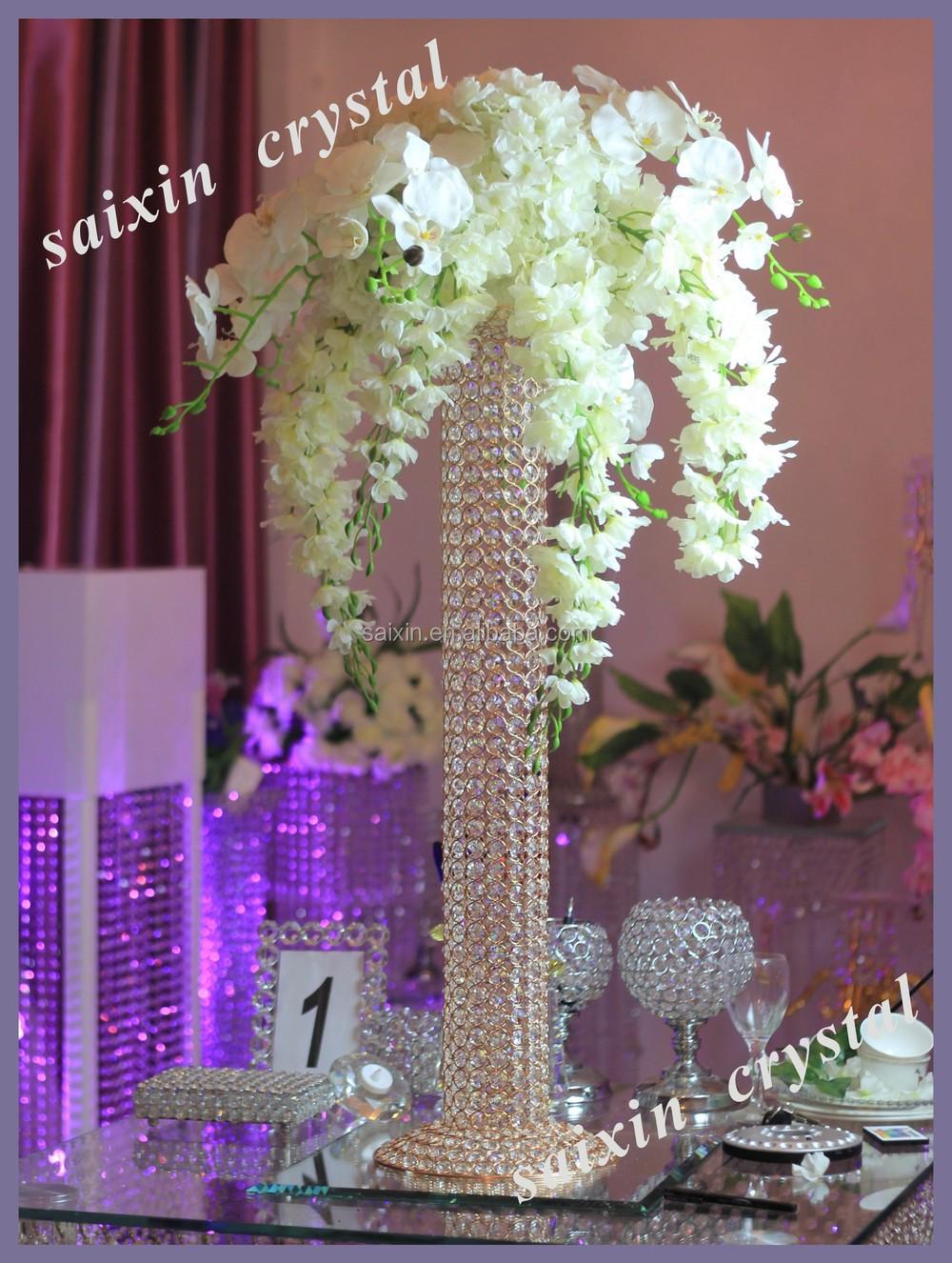 Wedding decor tall standing floor crystal chandelier view