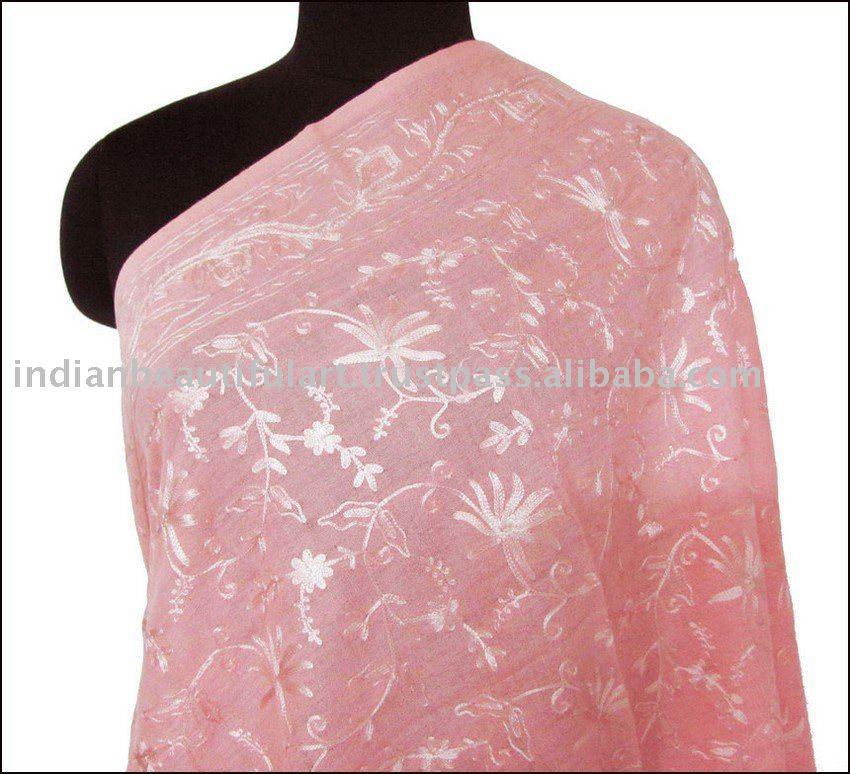 Regalo un chal de lana pura, Bordado de la lana para rosa rosada