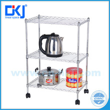 HKJ-C033 NSF hot selling 3tiers mobile chrome plated kitchen wire shelving rack