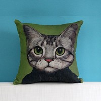 Pet Cat Printed Square Cushion Pillow Home Sofa Decorative Cushion For Leaning On