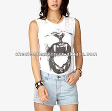 CHEFON Spiked Shoulder Lion's Roar Graphic Muscle Tank Top Tee CB0597
