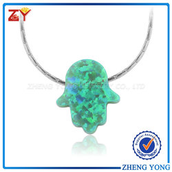 Trending Hot Products Opal Jewelry Hamsa Hand Necklace Simple Dainty Opal Good Luck Small Opal Necklace