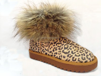 fluffy leopard printed winter snow boot