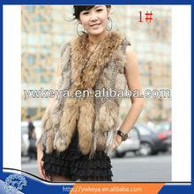 Hot Selling Fashion Knitted Women Rabbit And Raccoon Fur Vest With Tassels