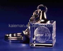 Fashion led crystal keychain with 3D laser engraving logo