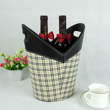PU leather wine Storage holder /Storage basket/Storage box with handle
