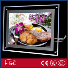 Acrylic light box with led strip lighting and slim picture frame