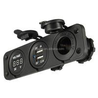 Car Motorcycle Power Port Dual USB Adapter Charger +12V/24V Cigarette Lighter Socket + Digital Voltmeter Outlet For Phone IPod