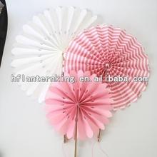 pink striped romantic festival favors paper fan