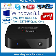 2015 new arrival intel quad core dual boot windows tv box with factory price
