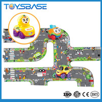 3D Funny toy with three cartoon car road mat games puzzle