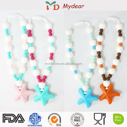 China Latest Design Silicone Teething Necklace Jewelry, Baby Teething Necklace Wholesale, Food Grade Bangle/Necklace Silicon