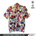 Abstracto impreso de la tela de botón frontal para hombre de la camisa hawaiana