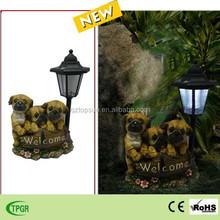 Decorative polyresin dog statue solar garden light