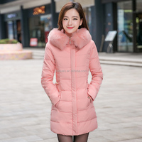 2015 new coming winter middle-long Down feather slim thickening faux fur collar coats clothes jackets for women female