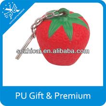 pu strawberry keychain promotional cheap fruit stress keychain