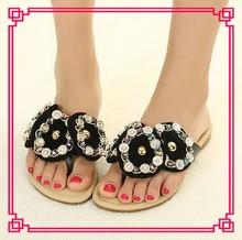 Wholesale New Arrival Black Girls Velvet Flat High Quality Flip-Flops Women Flat Sandal 2013