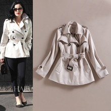 Top quality short style trench coat in women's jackets&coats overcoat washed plain dyed for ladies plus size OEM service