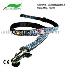 Latest Exquisite Embroidered flashing dog leash\pet leash with colorful LED