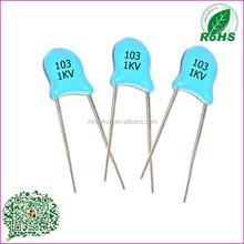 Alto de condensador a través de certificado RoSH 103 1KV condensadores de cerámica