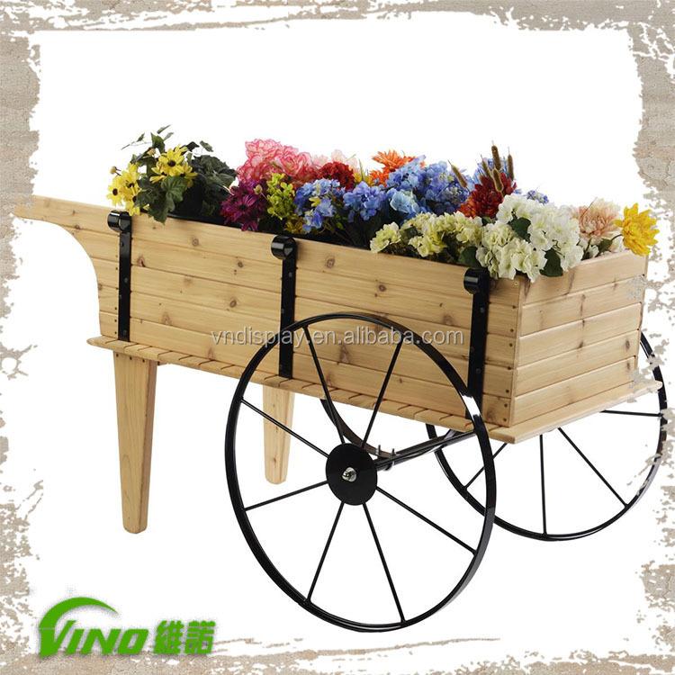Pantalla de jard n flor planta carro de madera z calo for Carros de madera para jardin