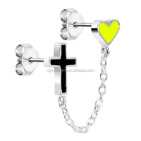 Black Cross Yellow Heart Chain Earrings Ear Cartilage Stud Earring
