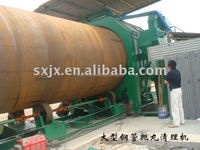 Large size steel pipe/tube shot blasting machine for external surface cleaning in pipeline industry