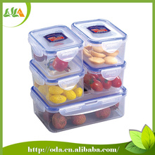 New products Clear/rectangular Plastic Food Container With Lid 5pcs/set