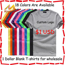 100% cotton wholesale blank t shirts good quality solid color plain t shirt comfortable 1 dollar t shirts with custom printing