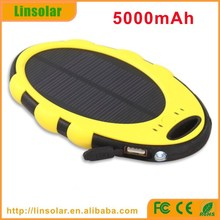 Hot 5000mAh wateroof ce rohs solar cell phone charger, dual USB solar panel charger for cell phones