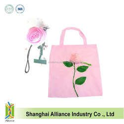 190T pink rose polyester foldable shopping bag for promotion ALD1090