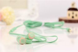 Deep bass flat cable earphone for mobile phone plastic in-ear earphones for MP3,Couples headphones