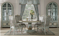 Elegant Classic Round Dinner Table With Chairs, Antique Design Wood Carved Dinning Set, Hand Painting Dinning Room Furniture