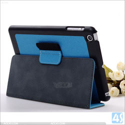For ipad mini case, 2 folding leather case cover for ipad mini with stand