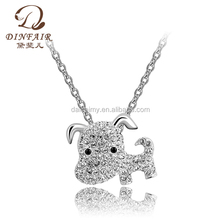 2015 high quality 18k gold plated lovely dog shaped pendant alloy chain animal necklace jewelry