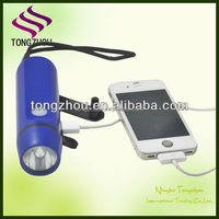 Hand crank cell phone flash light