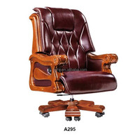 deluxe vintage leather swivel wood office chair with casters A295