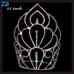 Fashion crystal large pageant crowns, extract of crown of thorns, wholesale beauty pageant crowns and tiaras