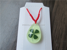 Wholesale Amber Four Leaf Jewelry Promotional Real Lucky Clover Necklace