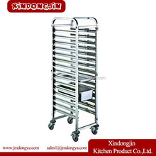 TR-16A 15 tiers GN 1/1 stainless steel food tray trolley,movable dining cart,GN pan cart