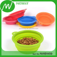food grade colorful silicone foldable dog bowl feeder