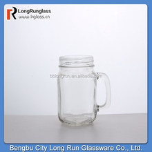LongRun 17oz High Quality white glass material Jar Glasses Funny Glass Holder With Handle