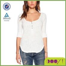 women plain white cotton top long sleeve blouses chambray cotton