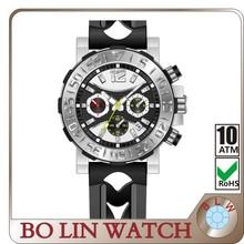 elegence custom design watch, mens watch/aluminum case/japan movement/tempered glass/genuine leather/5 atm/high quality