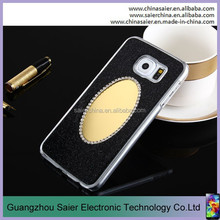 shiny black crystal diamond bling cell phone case with mirror for samsung s6 edge